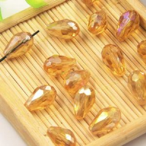 Beads, Selenial Crystal, Crystal, Orange AB, Faceted Teardrops, 8mm x 12mm, 1 Bead, [ZZS0008]